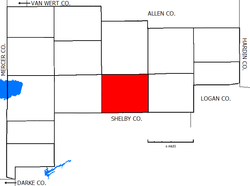 Location of Pusheta Township in Auglaize County