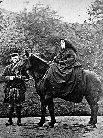 "John Brown (servant) - Queen Victoria on ""Fyvie"" with John Brown at Balmoral, by George Washington Wilson, 1863; medium: carte de visite, size: 9.20 x 6.10 cm; from the collection of the National Galleries of Scotland"