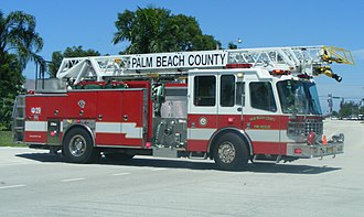 Quint (fire apparatus) - Palm Beach County Fire-Rescue Quint 29, stationed in Royal Palm Beach, Florida.  This unit was manufactured by Ferrara Fire Apparatus.