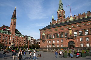 City Hall Square, Copenhagen - Rådhuspladsen with Palace Hotel and the City hall