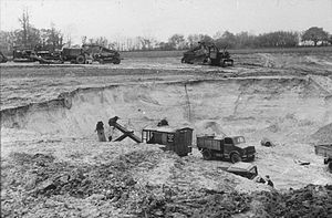 RAF Andrews Field - Photograph of construction of RAF Andrews Field by the 819th Engineer Battalion (Aviation) of the United States Army during 1942.