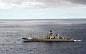 RIAN archive 669522 Long-distance voyage of Pyotr Veliky nuclear-powered cruiser.jpg