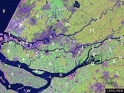 Satellite image of the northwest part of the Rhine-Meuse delta showing river Oude Maas (o).