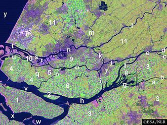 South Holland - A satellite image of the Rhine–Meuse–Scheldt delta, showing the islands of South Holland
