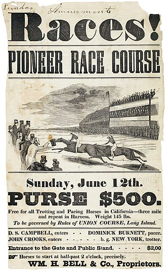 Pioneer Race Course - Races! Pioneer Race Course advertisement dated June 12, 1853