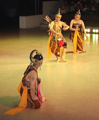 Dance in Indonesia - Lakshmana, Rama and Shinta in Ramayana ballet at Prambanan, Java.