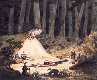 Jerningham Wakefield - Night-time camping scene at Rangiora bush with John Robert Godley, Charlotte Godley, Arthur Godley, Charles Torlesse, Charles Hunter Brown, and Jerningham Wakefield. Painted on 6 December 1850 by Frederick Weld.