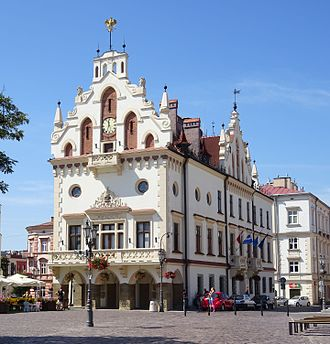 Rzeszów - City Hall in the Main Market Square. Initially built in the 16th century, it was later remodelled in Neogothic and Renaissance Revival styles
