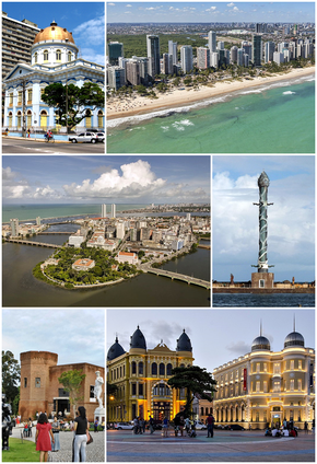 Top:Legislative Assembly of Pernambuco, Pina Beach in Boa Viagem Avenue and Recife Mangrove Park, Middle:Antonio Vaz Waterfront area, Recife Cristal Stature in Francisco Brennand Park, Bottom:Ricardo Brennand Institute zone, Rio Blanco Square (Praça Rio Blanco), all item for left to right