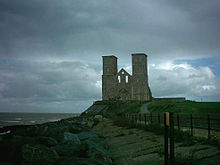 Reculver towers from the beach to the west