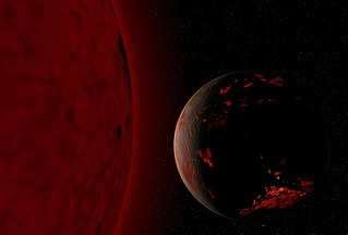 A dark gray and red sphere representing the scorched Earth lies against a black background to the right of an orange circular object representing the Sun