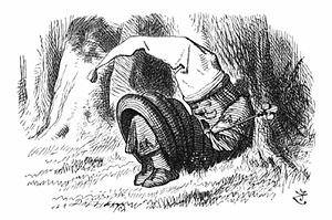 Through the Looking-Glass - Red King snoring, by John Tenniel