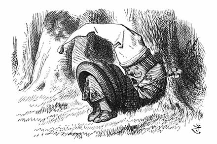 Through the Looking-Glass: the Red King is snoring. Illustration by Sir John Tenniel. Red King sleeping.jpg