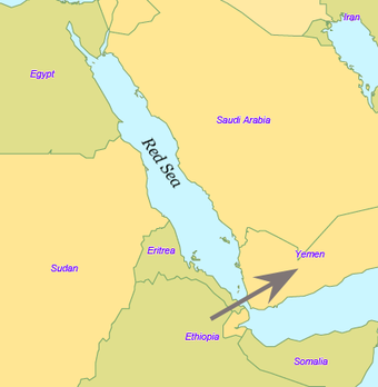 The Bab-el-Mandeb crossing in the Red Sea: now some 12 miles (20 km) wide, in prehistory narrower. Red Sea2.png
