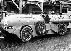René Stapp, racing driver, and his 1932 land s...