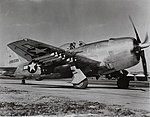 Republic P-47N Thunderbolt P-47N-5-RE, 44-88335. The Republic P-47 Thunderbolt, also known as the 'Jug,' was the biggest, heaviest, and most expensive fighter aircraft in history to be powered by a (16761183678).jpg