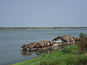 Savannakhet Province - A restaurant on the Mekong
