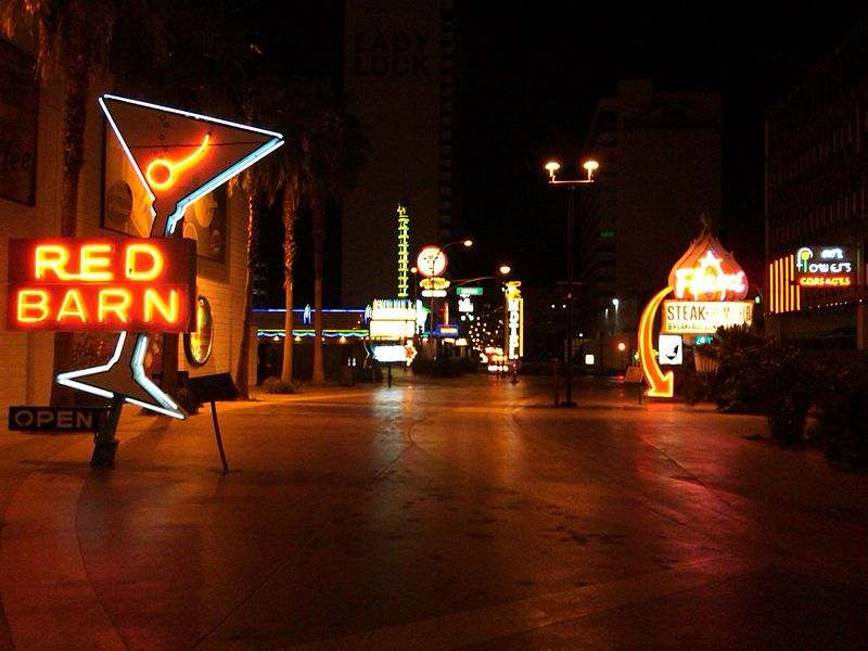 Restored signs from the Neon Museum Las Vegas along the Fremont Street Experience.