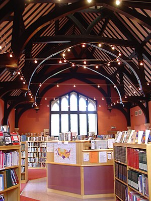 Royal Grammar School Worcester - The school's library, with the old roof structure visible