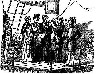 Spithead and Nore mutinies - Richard Parker about to be hanged for mutiny (image from The Newgate Calendar)