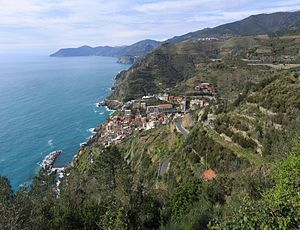 Riomaggiore and Cinque Terre seen from the acc...