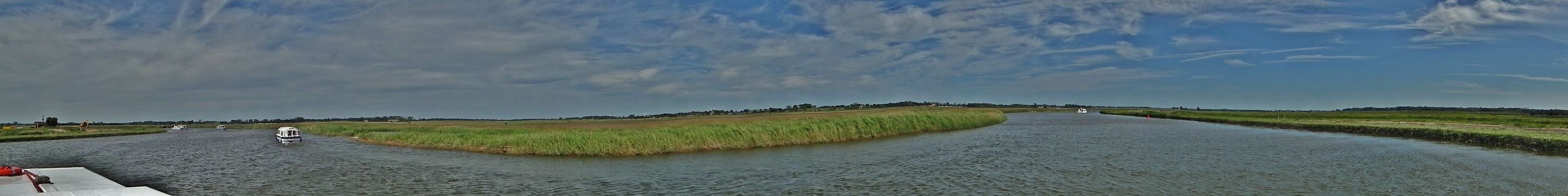 Panoramic view of the River Bure at the mouth of the Upton Dyke