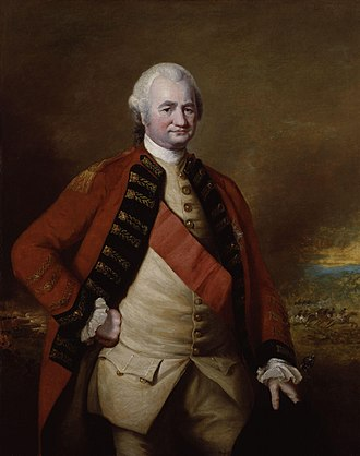 Robert Clive - Lord Clive in military uniform. The Battle of Plassey is shown behind him. Portrait by Nathaniel Dance