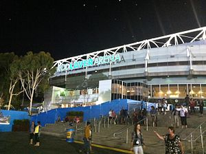 Rod Laver Arena - Rod Laver Arena at night in the 2013 Australian Open