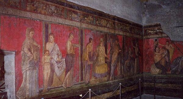 """Pogled na freske u """"Vili misterija"""" blizu Pompeja, oko 65.-50. pne."""