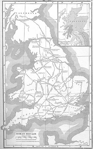Celts - Principal sites in Roman Britain, with indication of tribal territories