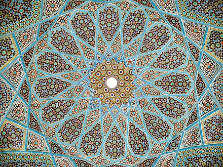 Complex Mosaic patterns also known as Girih are popular forms of architectural art in many Muslim cultures. Tomb of Hafez, Shiraz, Iran Roof hafez tomb.jpg