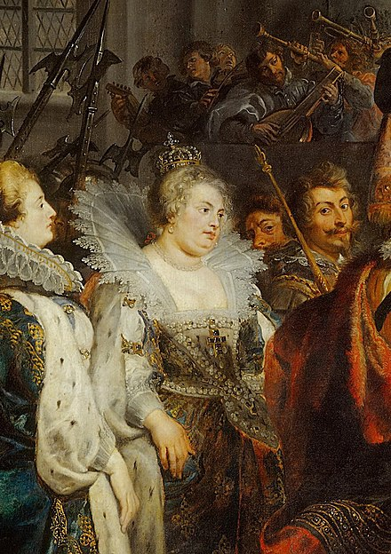 Queen Margaret in 1610. Coronation of Marie de' Medici in St. Denis (detail), by Peter Paul Rubens, 1622-1625. Rubens.La Reine Marguerite de Valois.JPG