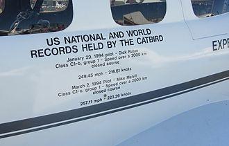 Scaled Composites Catbird - Image: Rutan Catbird Records