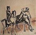 Ryttere Santa Anastasia. Elisa Maria Boglino.Tusch og akvarel. ca 1965.jpg