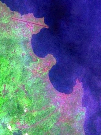 Ana Chaves Bay - Satellite image of the city of São Tomé and Ana Chaves Bay