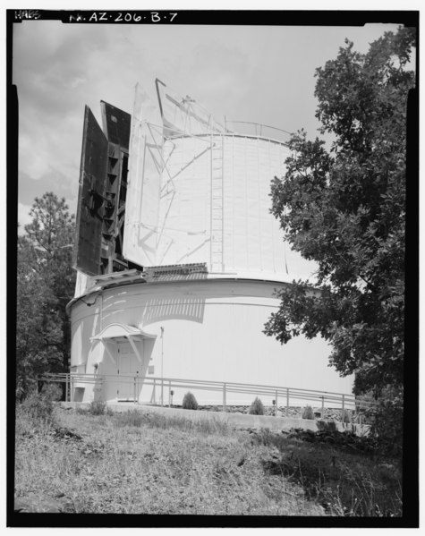 File:SAME VIEW AS B-6 WITH DOORS OPEN, LOOKING NORTHWEST - Lowell Observatory, Clark Dome, 1400 West Mars Road, Flagstaff, Coconino County, AZ HABS ARIZ,3-FLAG,1B-7.tif