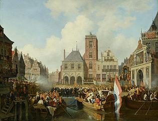 Intocht van prins Maurits te Amsterdam