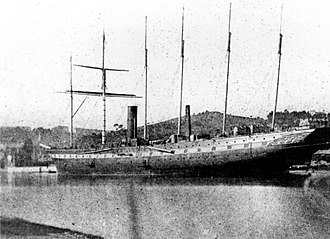 SS Great Britain -  Fitting out in the Cumberland Basin, April 1844. This historic photograph by William Talbot is believed to be the first ever taken of a ship.