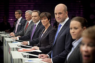 Swedish general election, 2010 - The final election debate on SVT. Party leaders Hägglund (KD), Ohly (V), Björklund (FP), Sahlin (S), Reinfeldt (M), Wetterstrand (MP), and Olofsson (C).