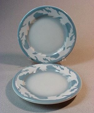 "Restaurant ware - The ""Oakleigh"" airbrushed stencil design on side plates by Syracuse China."