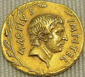 Gold coin depicting male bearded face staring right