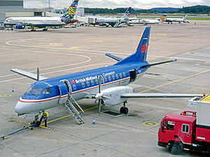 BMI Regional - Saab 340 of British Midland Commuter at Manchester Airport in July 1998.