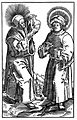 Saint Cosmas and Saint Damian, from a woodcut. Wellcome L0010492.jpg
