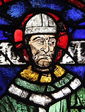 Stained glass image of Thomas Becket