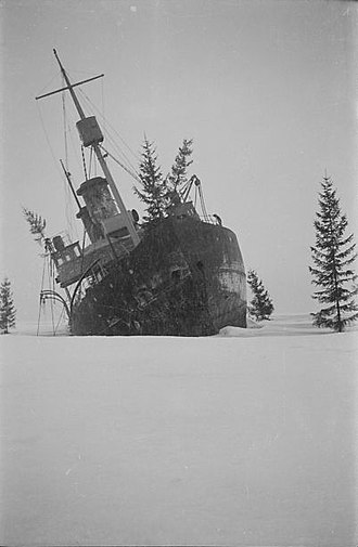 Sampo (1898 icebreaker) - Sampo grounded and camouflaged with tree branches.