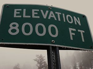 Elevation - A sign at 8000 feet (2438 metres) in the San Bernardino Mountains.