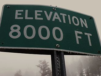 Elevation - Image: San Bernardino Mountains 8000feetsign