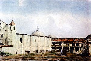 San Jerónimo, Baja Verapaz - Hacienda and church of the Order of Preachers in San Jerónimco in 1844.  Drawing by M. Van Lockhoet.