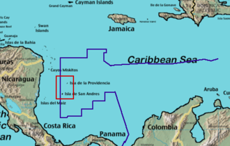 Territorial disputes of Nicaragua - The location of San Andres and Providencia in the Caribbean.