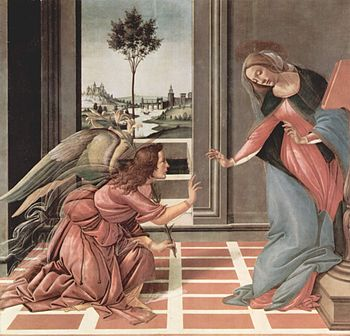 Sandro Botticelli's Annunciation, painted from...